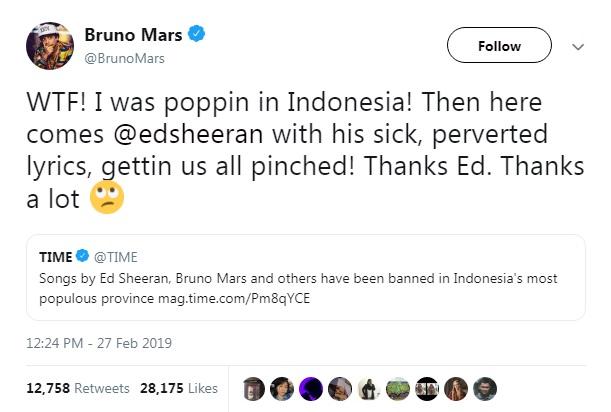 Bruno Mars Salahkan Ed Sheeran Lagunya Diblokir di Indonesia!